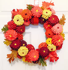 decoration thanksgiving fall zinnia pinecone wreath fall pinecone wreath autumn
