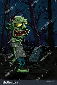 zombie halloween background cartoon zombie graveyard there gravestone trees stock vector