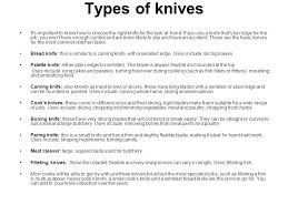different types of kitchen knives the use of knives in catering ppt