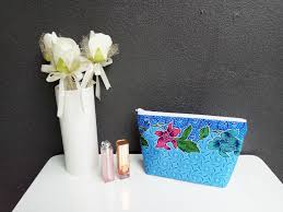 bridal party makeup bags etsy のmalaysian batik blue floral cosmetic pouch makeup bag