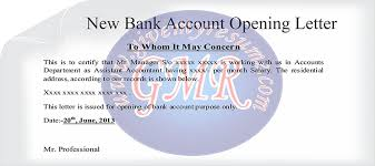 sample business letters appointment new bank account and experience