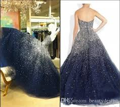 navy blue puffy prom dresses ball gowns 2017 strapless sparkling