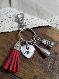 wine glass keychain gift for a wine drinker wine lover keychain wine charm keychain