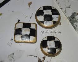 lynda bergman decorative artisan hand painted black u0026 white