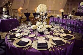 white gold and purple wedding royal purple black and white wedding reception dinner table