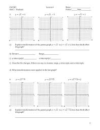 Graphing Square Root Functions Worksheet Class Notes For Discovering Transformation Of The Parent Graph For Th