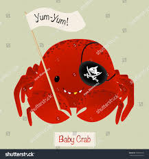 cute baby crab pirate eye patch stock vector 390062578 shutterstock