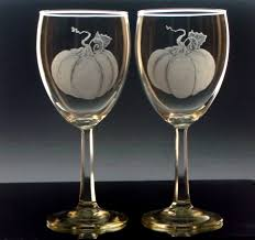 pumpkin wine glass set of four fall halloween wine glasses