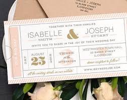 formal admission ticket wedding invitation just the