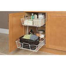 2 tier cabinet organizer closetmaid 14 in w 2 tier ventilated wire sliding cabinet organizer