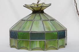 Glass Kitchen Light Fixtures Vintage Leaded Glass Shade Light Fixture Green Stained Glass