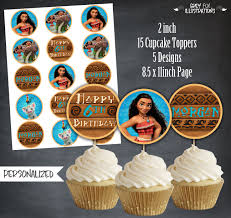 personalized cupcake toppers moana cupcake toppers moana tags moana birthday favors