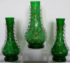 Antique Hand Painted Vases Garniture Of Three Antique English Victorian Hand Painted Green