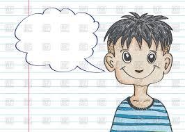 speech bubble hand drawn happy hand drawn boy with dialog speech bubble royalty free vector