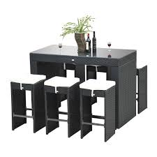 11 piece dining room set outsunny outdoor 11 piece pe rattan wicker table and chair patio