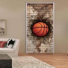 chambre basketball 77x200 cm dunk 3d creative porte autocollants chambre portes