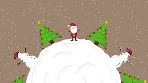 cute animation of santa clause snowman and christmas trees