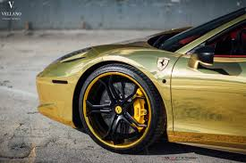 Golden Ferrari 458 Spider On Vellano Wheels Autofluence
