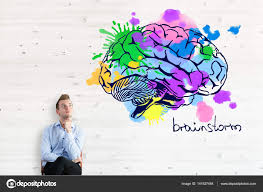 thoughtful businessman with colorful brain sketch brainstorm