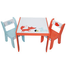 Kid Playroom Furniture Labebe Wooden Activity Table Chair Set Fox Printed White Toddler Tabl