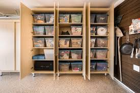 garage large maple melamine cabinets contain large storage bins