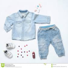 Trendy Infant Boy Clothes Top View Trendy Denim Look Of Baby Boy Clothes With Toy And Snea
