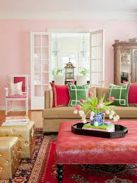 red interior design living rooms that pop with color hgtv