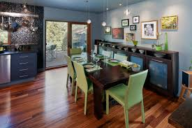 design ideas chic dining room with artwork on gray walls with