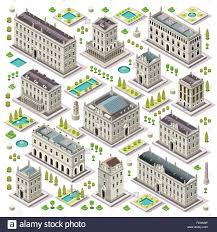 Tre Map Flat 3d Set Of The Isometric Town Buildings City Map Elements