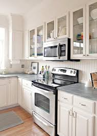 grey kitchen countertops with white cabinets stylish backsplash pairings better homes gardens