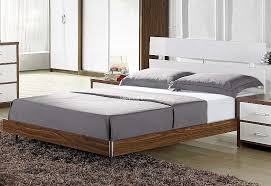 Milan Bed Frame Signature Milan Modern White And Walnut Bed Frame 5ft Kingsize