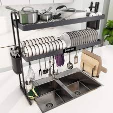 what size cabinet above sink sink dish drying rack boosiny 2 tier stainless steel large adjustable kitchen dish rack 27 5 33 5 expandable dish drainer shelf above sink