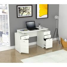 Modern Desks With Drawers Inval Laricina White Modern Computer Writing Desk With
