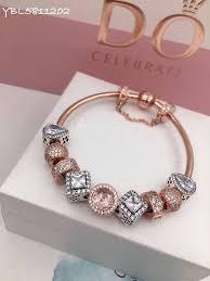 rose gold bracelet charm images Pandora rose gold charm bracelet 9 pcs charms two tone jpg