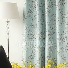 Floral Lined Curtains Cheap Thermal Lined Curtains With Light Sky Blue Color
