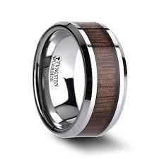 mens wedding bands wood inlay halifax beveled tungsten carbide ring with black walnut wood inlay