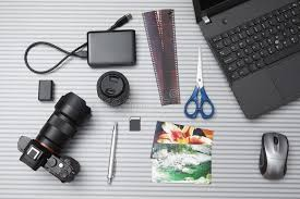 bureau photographe vue supérieure de bureau de photographe photo stock image du