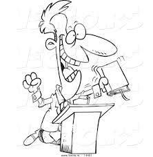 vector of a cartoon televangelist man preaching at a podium