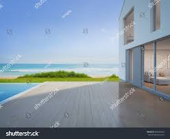 luxury beach house sea view swimming stock illustration 664330639