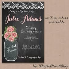 rustic baby shower mason jar bridal shower invite chalkboard pink