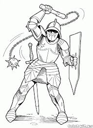 coloring page knight with mace