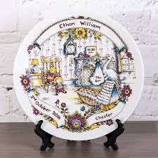 birth plate keepsake personalised heron china traditional birth plate the gift experience