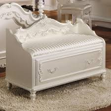 White Storage Bench Acme Furniture Pearl White Storage Bench In Pearl White With Gold