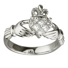 claddagh engagement ring claddagh engagement rings solvar rings 14k white gold diamond