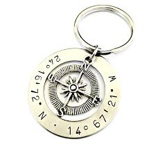 graduation keychain personalized latitude longitude compass keychain
