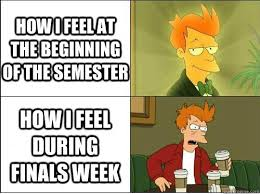 Make Your Own Fry Meme - how i feel at the beginning of the semester how i feel during finals