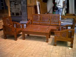 Wooden Living Room Set Carved Teak Minimalist Wooden Living Room Chairs Home Design