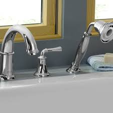 portsmouth deck mounted bathtub faucet with lever handles