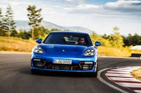 porsche panamera blue first drive 2018 porsche panamera turbo s e hybrid exhausted ca