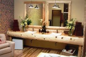 bathroom vanities rustic twin floating lamps on cream tile